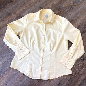 Chico's pale yellow button down shirt